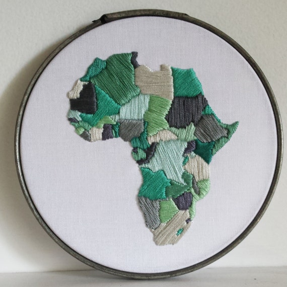 Hoop art kit modern embroidery africa by lovelymesses