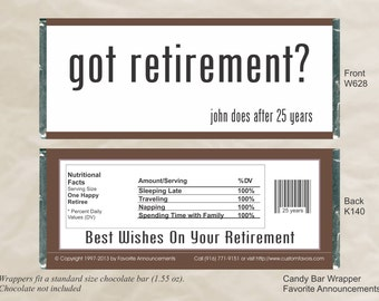 Unique Party Favors, Candy Bar Wrappers, Retirement Favors, Retirement Party, Personalized Favors, Custom Favors, Gifts (Set of 12)(W628)