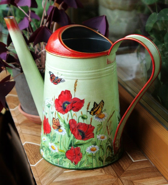 Metal Galvanized Watering Can Decoupage Modern Vase Decorative