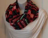 FIP07 08: Fabric Infinity Puffy Scarf (Black Winter, Flannel) FREE SHIPPING