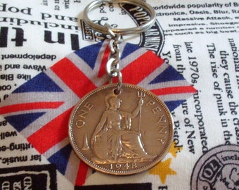 1948 1d 1d Old Penny English Coin Keyring Key Chain Fob King George VI