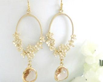 Champagne Floral Earrings, Peach Earrings, Dangle, Drop Earrings, Mothers Day, Gift for Her, Gift for Best Friend, B