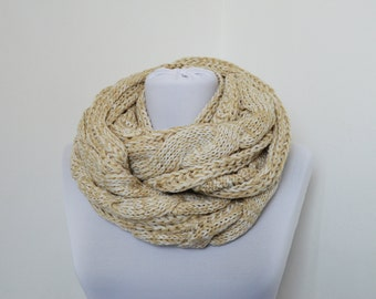 CLEARANCE SALE - Beige Infinity Scarf - Chunky Cable Knit Scarf - Loop Scarf - Circle Scarf   834