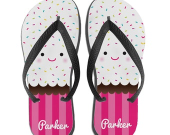 Beach Sandals, Girls Flip Flops, Cupcake Gift For Girls, Personalized Gifts for Little Girls