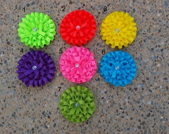 Ribbon Flower Hair Clip Neon Green Red Yellow Purple Pink Blue Green Girly Summer