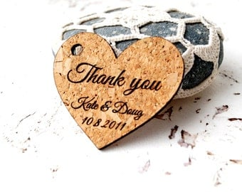 Wedding favor tags, rustic heart favor tags, cork favor tags, personalized wedding favor tags, custom engraved wedding thank you tags
