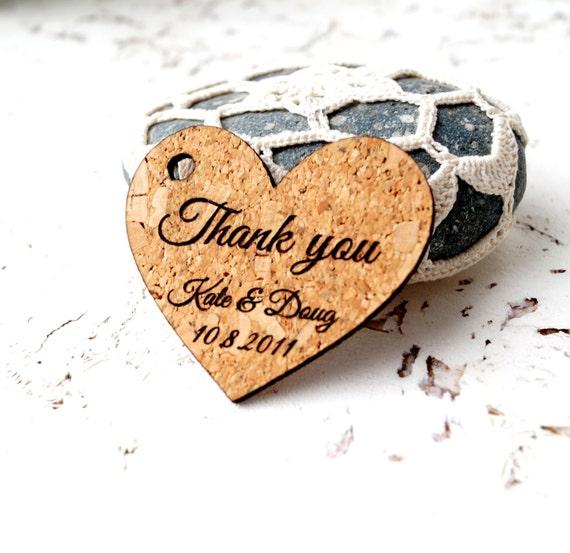 Wedding Heart Gift Tags : Wedding favor tags, rustic heart favor tags, cork favor tags ...