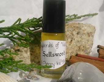 Sellsword, a Songbirds of Valnon fragrance (Tobacco, leather, earth, steel, cypress)