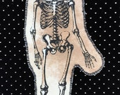 Handmade Iron-On Vintage Swaying Skeleton Patch