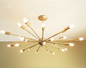 Large 24 Arm Sputnik Light Atomic Mid Century Starburst Chandelier
