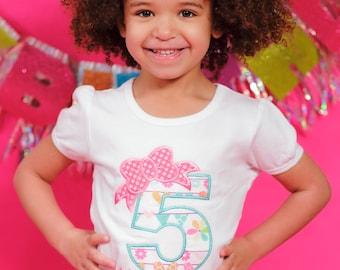 Personalized Birthday Bow Shirt/ Tee/ Girly Birthday Shirt/ Birthday Applique