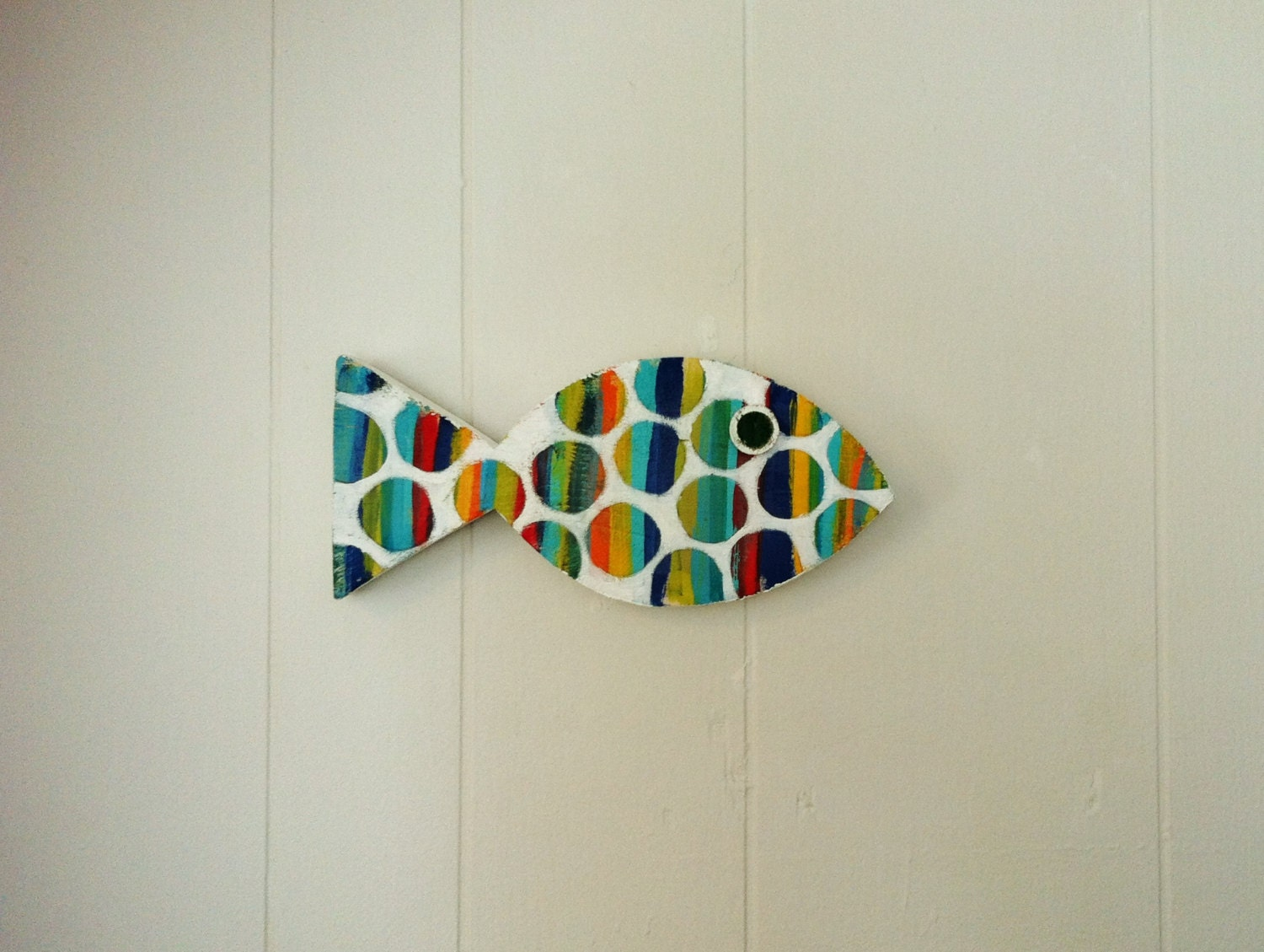 Wooden fish coastal beach art wall hanging decor by for Fish wall decor