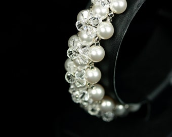 "Swarovski ""Crystals and Pearls"" in White, White Swarovski pearls, Clear crystals, Wedding bracelet, Handmade Wedding Jewelry"