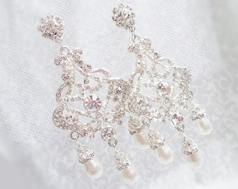 FREE United States Shipping Dramatic Crystal And Pearl Chandelier Bridal Earrings Bridal Jewelry Victorian Style Chandelier Bridal Earrings