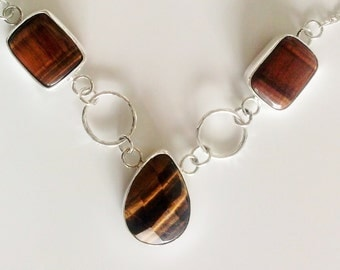 Princess Collar.Handmade with squareTiger Eye and Silver, Brown Drop gemstone  Necklace, statement Collar, Cocktail  or Fashion Jewelry