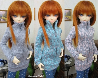 SALE - 25% OFF Kawkana - Argyle, Diamond design Hoodie / Blouse with zipper for MSD, Mnf, Jid, other 1/4 bjd