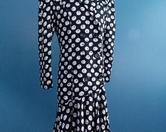 SALE** Designer Raul Blanco Black & White Silk Dress