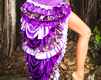 Purple Bustle Skirt / gypsy goddess / steam punk / festival / burning man / costume