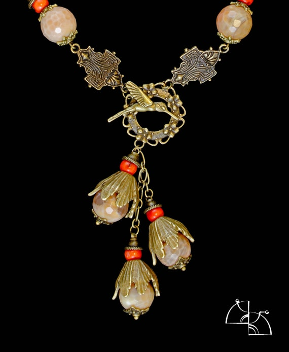 CHRISTMAS SALE 25% off Bird of happiness. Jewelry Set. Spring sotuar and Earrings with coral , african agate.