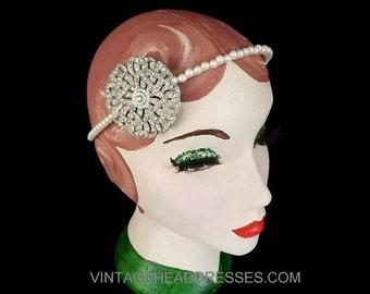 Vintage Art Deco Headband, Paste Diamante & Pearl Headpiece, Side Detail Bridal Headband, Rhinestone Wedding Headpiece, Great Gatsby