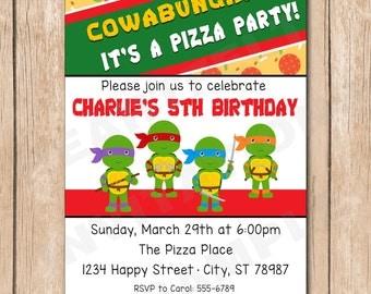 Ninja Turtle Birthday Party Invitation - 1.00 each printed or 10.00 DIY file