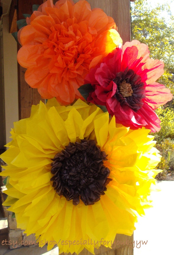 fall wedding set of 3 giant paper flowers