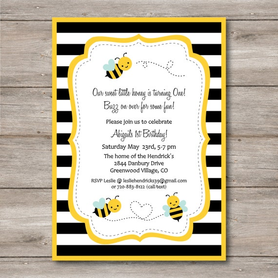 Bumble Bee Invitation With Editable Text Printable By