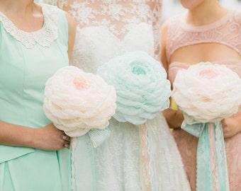 Custom Fabric Flower Bouquet - Handmade Flower, Fabric Bouquet, Bridal Bouquet, Wedding Bouquet, Alternative Bouquet, Mint Blush  - 8 inch