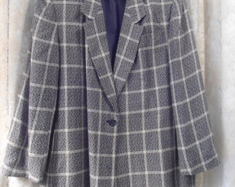 Womens Black and Grey Tweed Plaid Blazer with Shoulder Pads Bohemian Jacket Retro Coat plus size 22 boho grunge hippie style