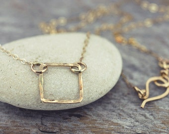 Gold Necklace, Dainty Gold Necklace, Simple Gold Jewelry, Gold Square Necklace, Geometric Jewelry, Hammered Gold Necklace, Minimalist