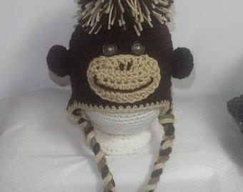 Crochet Sock Monkey Earflap Hats