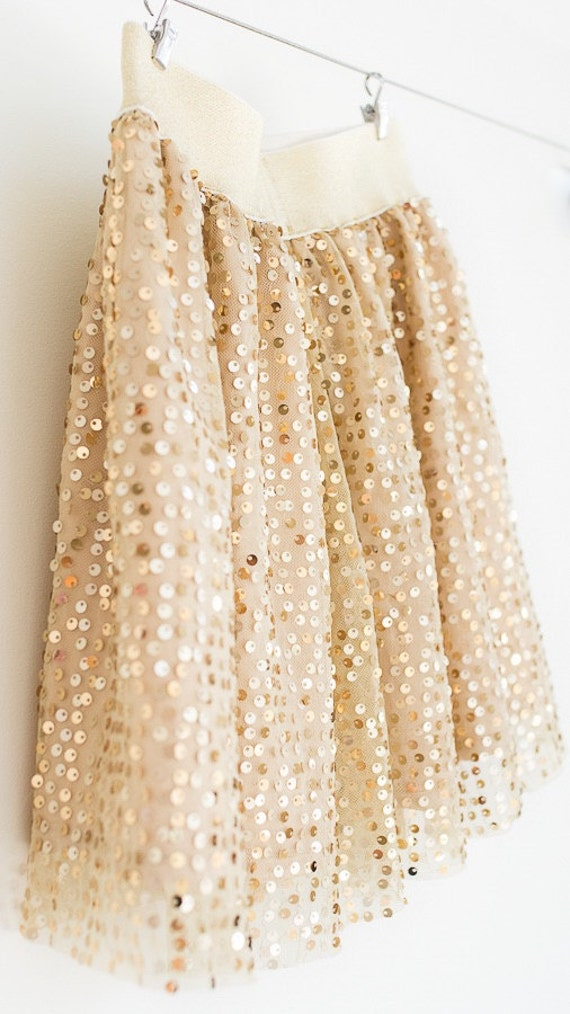 Girl Sequin Skirt gold sequin skirtelastic gold skirt