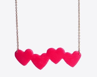 """Hot Pink, Sculpted, Hearts Necklace, on 17"""" Gold Chain, heart necklace, four hearts necklace, hot pink necklace, pink & gold necklace, heart"""