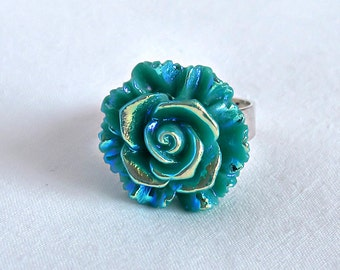 Teal Rose Ring; Rainbow Ring; Green Flower Ring; Resin Rose Jewelry; Teal Green Ring; 20mm Rose Cabochon Ring; Adjustable Statement Ring