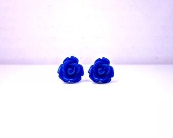 Dark Blue Rose Earrings; Lead and Nickel Free Stud Earrings; Blue Rose Jewelry; Rose Bud Earrings; Royal Blue Earrings; Rose Stud Earrings