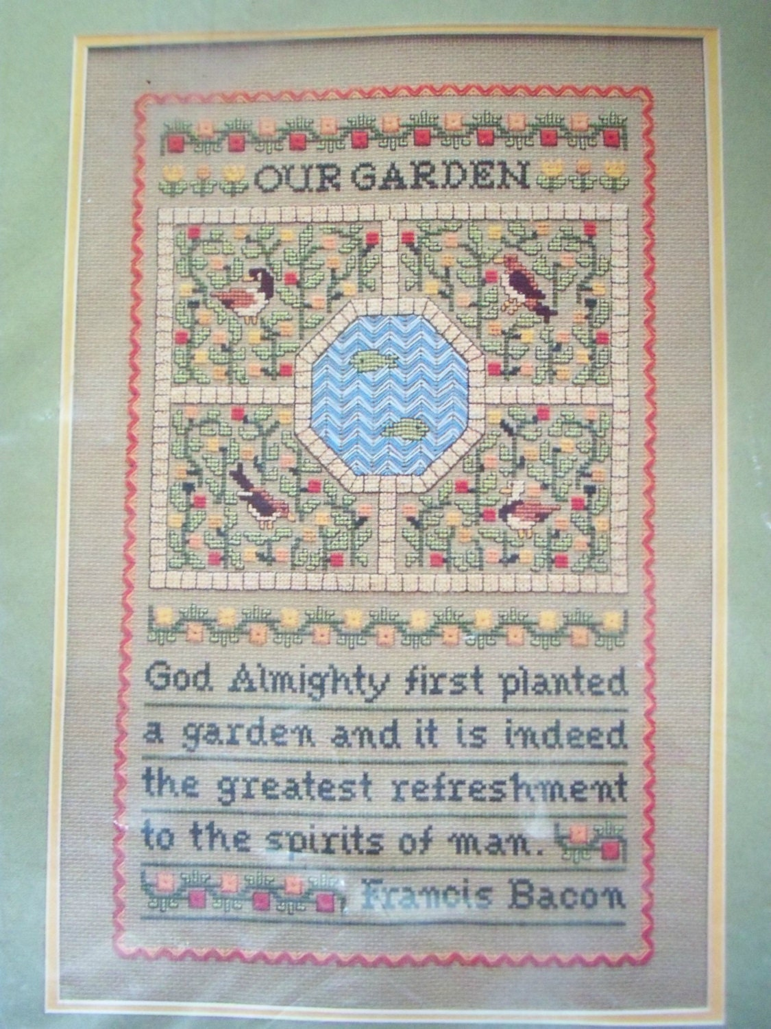 Counted cross stitch kit our garden sampler religious