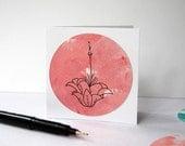 Botanical gift card - Pink Flower card - World of Warcraft inspired - OOAK