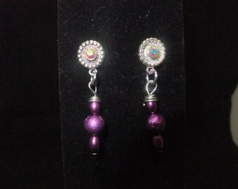 Purple Jeweled Stud Earrings