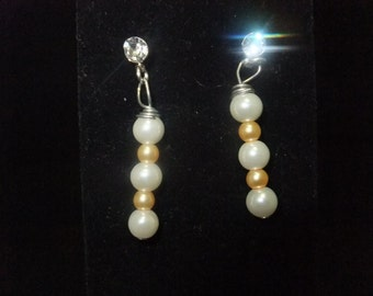 White and Gold Pearl Stud Earrings
