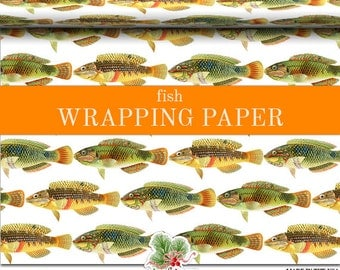 Fish Print Wrapping Paper | Custom Fish Gift Wrap Paper  Roll 9 feet or 18 feet. 3 Fish Graphics Repeat Across For A Total Of 6 Fish Wide.