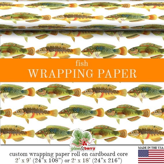 Fish print wrapping paper custom fish gift wrap paper roll for Fish wrapping paper