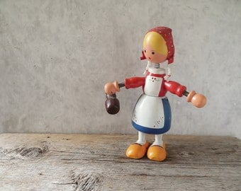 Large wood goula doll figurine -vintage head nodder 9 inches tall    / 0272