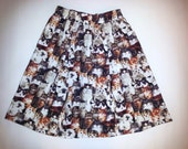 Retro high waisted infinite all over cats print pleated skirt