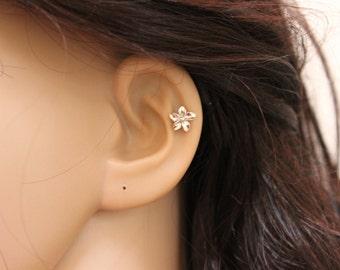 Flower Earring, Flower cartilage earring, Plumeria earring, tiny cartilage earring, flower cartilage stud, dainty earring, botanical.