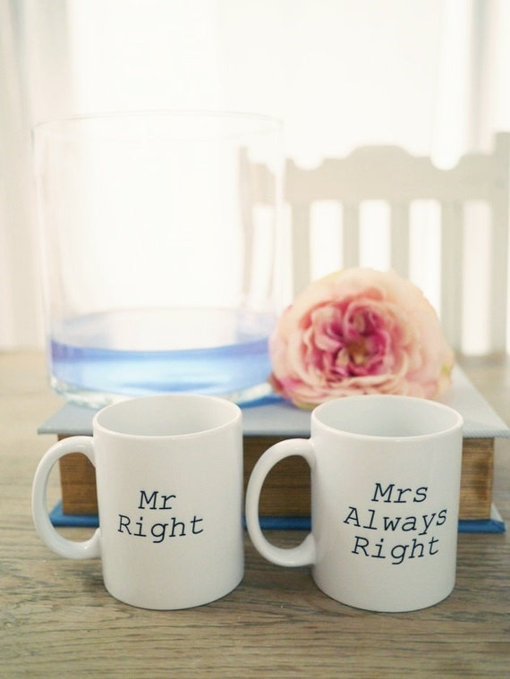 mr right and mrs always right printed font. Black Bedroom Furniture Sets. Home Design Ideas