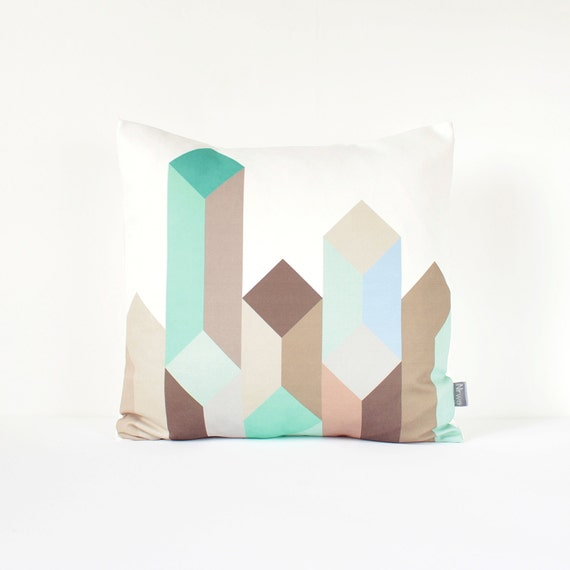 Geometric Pillow Cover in Mint, Teal, Aqua, Blue, Gray and Brown / Geometric Mint Cushion / Modern Pillow Cover / Mint Pillow / 45x45cm