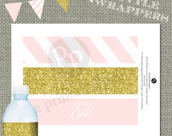 Printable Water bottle Wrapper| Pink Stripes & Gold Glitter Decor | It's a Girl! Calligraphy| Instant Download | DIY| IAG | No. WBR-122