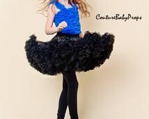 Girl's ruffle PREMIUM BLACK pettiskirt tutu skirt party dress petticoat twins photo prop size 3 4 5 6 7 8