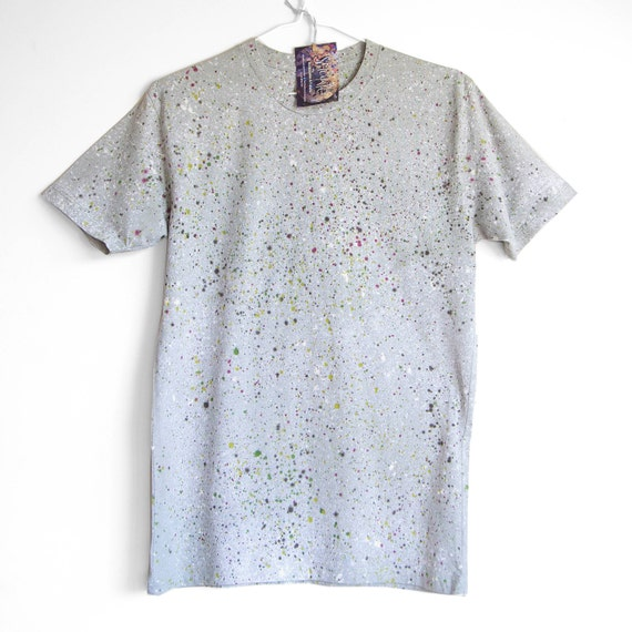 NATURAL SPECKLE TEE. 100% Organic Cotton. Hand dyed tee. Unique t shirts. Mens Unisex t shirt. Natural. Grey.