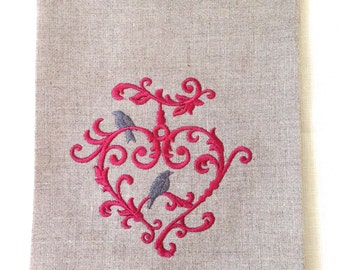 Embroidered Tea Towel or Guest Towel  Bird and Heart.